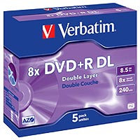 Verbatim DVD+R 8.5 GB 8x JC (5), DL