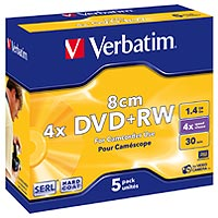 Verbatim DVD+RW 1.46 GB 4x JC (5) 8cm - 43565