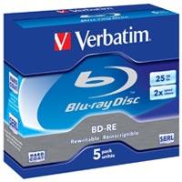 Verbatim Blu-Ray RW 25 GB 2x Rewritable JC (5) - 43615