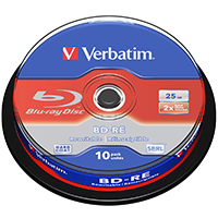 Verbatim Blu-Ray RW 25 GB 2x Rewritable CB (10) - 43694