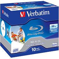 Verbatim Blu-Ray DL 50 GB 6x Recordable JC (10) IWP NON-ID - 43736