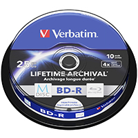Verbatim M-Disc Blu-Ray 25 GB 4x Recordable CB (10) IWP