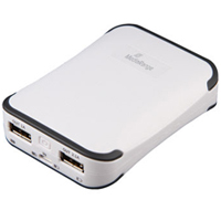 MediaRange PowerBank 6.600 mAh - Dual USB Port weiß/grau