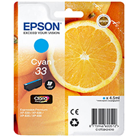 Epson Tinte 33 Claria Premium XP350/630/635/830 cyan - Orange